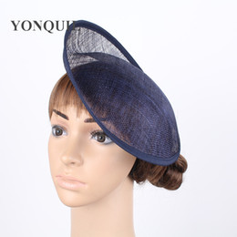 """Wholesale Diy Fascinator Hats - Free shipping navy or 12 COLOR 10"""" 25cm Solid Round Hat Handmade red sinamay fascinator base DIY hair accessories 12pieces lot"""