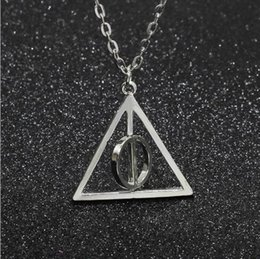 Wholesale harry potter gifts - The deathly Hallows harry Pendant Necklace Chain Retro gift Triangle Rotatable Resurrection Stone Unisex Luna Potter alloy Necklace