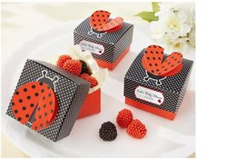 Wholesale Cute Baby Shower Favor Box - 100pcs Laser Cut 'Cute as a Bug'3 D Wing Ladybug Wedding Gifts Box Candy Boxes Gift Favor Box Baby Shower Wedding Party Supplies