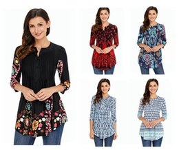 Wholesale plus size long sleeve tunic - New fashion casual women fashion vintage floral long sleeve patchwork tunic tops loose plus size blouse shirt