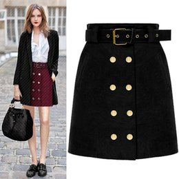 Wholesale Short Red Leather Skirt - 2018 New Fashion Women Spring Autumn Lady Suede Leather Office Work Skirt Double-breasted Package Hip Mini Short Skirts