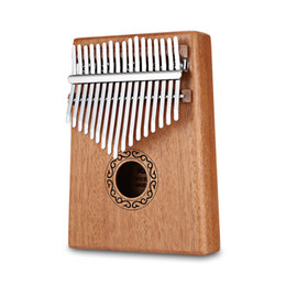 Instrumento musical de madera online-B - 17T 17 teclas Kalimba Thumb Piano Instrumento musical de caoba de madera de alta calidad con libro de aprendizaje Tune Hammer