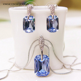 Wholesale Heart Ocean Jewelry Set - White Gold Color Austrian Blue Rectangle Crystal Heart of Ocean Design Jewelry Set Necklace Earrings Wholesale Gift