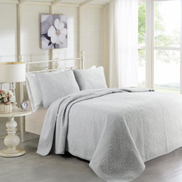 Wholesale King Style Briefs - Hanxiangyiren 100% Cotton Quilted Solid Quilt Set 3 pcs High Quality Brief Style King Queen Size Bedspread Coverle 230*250cm size