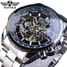 победитель спорта скелет автоматические часы Скидка Winner Sport Design Bezel Golden Watch Mens Watches Top  Montre Homme Clock Men Steampunk Automatic Skeleton Watch