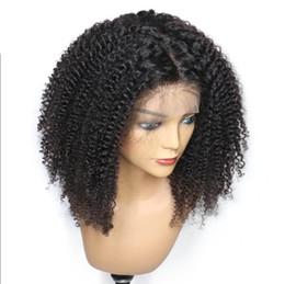 parrucche di merletto di struttura viziosa Sconti Parrucche frontali in pizzo per capelli neri per donne nere Pre pizzicate Afro Crespi Ricci Parrucca brasiliana del merletto dei capelli vergini con i capelli del bambino