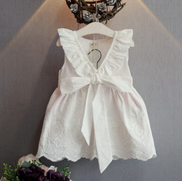 Wholesale sundresses for kids - baby girl cute dresses backless big bow fashion lace dress for kids princess party tutu sundress sleeveless outfits toddlers clothes