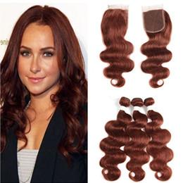 Argentina Ofertas de paquete de cabello peruano Virgen peruana de color rojo con cierre Body Wave # 33 paquetes de armadura de cabello castaño oscuro con cierre de encaje 4x4 cheap color 33 weaves Suministro