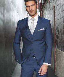 Wholesale Two Piece Bridegroom Suit - Handsome 2018 Two Buttons Blue Groom Tuxedos Groomsmen The Best Man Suits Wedding Groomsman Men Business Suits Bridegroom(Jacket+Pants+Vest)