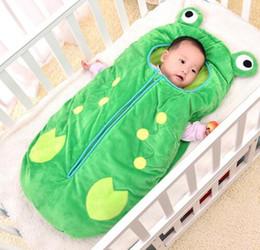 Wholesale Cartoon Sleeping Bags - Ins Baby Frog Sleeping Bags cartoon Sofa Bedroom Blankets Travel Blankets Newborns Sleeping Bag stroller Sleep Sack KKA4045
