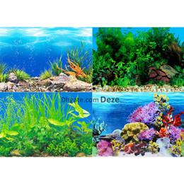 Cartaz dos peixes on-line-1pc 40 cm de altura 9 Modelos aquário Poster Dupla Face Fish Tank Fundo da parede Imagem Imagem Decor Glossy 1 metro