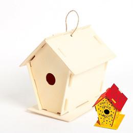 Wholesale Garden Goods - 6pcs  Lot .Diy & Paint Unfinished Wooden Bird House ,Bird Cage ,Garden Decoration ,Spring Goods ,Kids Toys .11 .5x16 .5x16cm