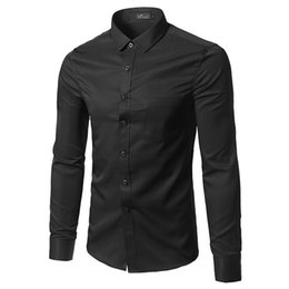 Wholesale men slim work shirts - Business Office Work Classical Black Shirts Men Turn Down Collar Long Sleeve Slim Formal Camisa Social Masculina Button Up Shirt