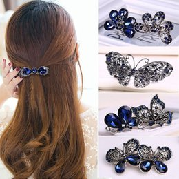 Wholesale Hair Extension Metal Clips - High-Quality Hair Claws Alloy Flower Hair Clips Rhinestone Crystal Hairpins Bridal Wedding Women Girls Hair Accessories Metals Barrette