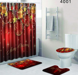 shower curtains bathroom Coupons - Christmas Shower Curtain Set with Mat Seat Cover Polyester Waterproof Bath Curtain Non Slip Mat Door Rug
