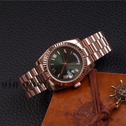 Wholesale Watch Roman Gold - Day Date TOP AAA Rose Gold Watch Relojes De Mujer Reloj Mecánico Rose Gold Strap with Green Dial Roman Numerals Wristwatch Marca De Lujo