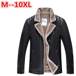 Wholesale Genuine Leather Jacket Men Brown - Wholesale- plus size 10XL 8XL 6XL 5XL Winter Men's Genuine Leather Jackets Brand Brown Sheepskin Jacket and Coats with Fur Wool Collar Warm