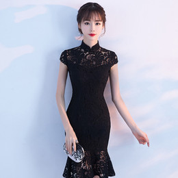 fashion chinese wedding dress Promo Codes - Sexy Short Slim Cheongsam Dress Fashion Women Traditional Chinese Wedding Gown Qipao Embroidery Oriental Collars China Bride