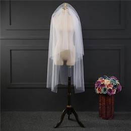 Chegada nova Mulheres Fotos Reais Curto Branco Marfim Véus De Noiva Duas Camadas Véus de Noiva Venda Quente Barato Acessório Do Casamento Para O Vestido de noiva Net de Fornecedores de casamento branco kim kardashian