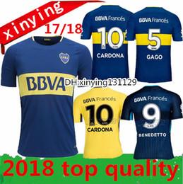 Wholesale Argentina Football Shirt Soccer - Thai quality 2017 2018 Argentina Boca Club Juniors Soccer Jerseys 17 18 GAGO OSVALDO CARLITOS PEREZ P HOME Blue AWAY 3rd Football shirts