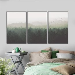 Wholesale Home Handmade Decoration - Nordic Decoration Forest Landscape Wall Art Canvas Poster and Print Canvas Handmade Decorative Picture for Living Room Home Decor PL3-012