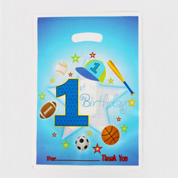 Wholesale loot kids gift bags - Wholesale- 12pcs Loot Bag for Kids Birthday festival Party Decoration 1st sports boy Theme Party Supplies CandyBag Shopping Gift Bag