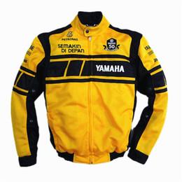 Chaqueta de malla de moto xl online-Chaqueta MOTOGP 50 años de aniversario para YAMAHA Racing Team Chaqueta respirable de malla de moto de verano con 5 equipos de protección
