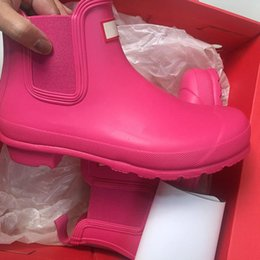 Wholesale Red Rose Boots - H brand Women s ORIGINAL CHELSEA short Rainboots Wellies Rain Boot Welly Waterproof Knee Boots Rainboots Rain Boots Glossy Matte Shoes boot
