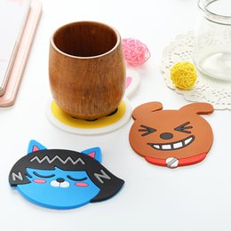 Wholesale Cartoon Drink Cup - Free Shipping Cartoon animal silicone dining table placemat coaster kitchen accessories mat cup bar mug cartoon animal drink pads