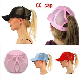 Wholesale Cap Vest - 2018 Hot CC Horsetail Baseball Cap Ladies Horsetail Hat Fashion Girls Basketball Hat Vest Horsetail Hat