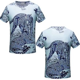Wholesale Leopard Print Mens Clothes - 2018 Fashion Paris Tags t shirts Cotton designer T-shirts Leopard Print Mens Slim Fit tee shirts France Luxury tshirt Short Sleeve clothing