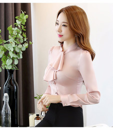 Wholesale Office Wear Tops Blouses - Ruffles Collar Casual Women Blouse Female Elegant Pink Slim Fit Shirt Ladies Tops Office Ladies OL New Style Fashion Work wear