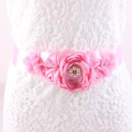 Wholesale Bridal Shower Fashion - Maternity Sash Flower Sash Belt Bridesmaid Accessory Photo Prop Baby Shower Newborn Flower Belt Bridal Wedding Accessories