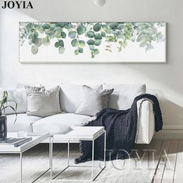 Wholesale Bedroom Framed Wall Paintings - Home Decoration Nordic Style Painting Green Leaves Watercolor Leaf Wall Art Poster Canvas Prints Large Picture for Bedroom Decor