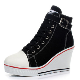 Canada Nouveau Sexy Femmes Respirant Coins Chaussures Toile Haut Zips 8cm Haute Talon Zapatos Mujer Tonification Chaussures Sneakers Taille 43 Offre