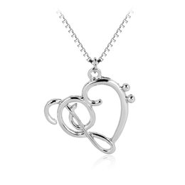"Wholesale Music Symbol Pendant - whole saleTiny Music Note Note Symbol: Heart of Treble and Bass Clefs Infinity Love Charm Pendant Necklaces Unisex Jewelry 18"" Chain"