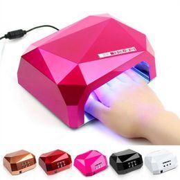 2019 configuración de la secadora 36W UV LED secador de uñas 10 colores en forma de diamante lámpara UV LED lámpara de uñas LED + CCFL Bulb curado para gel UV esmalte de uñas herramientas