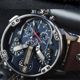 Wholesale Military Clock Time - DZ 7314 7313 Watch Men's Sports Luxury Quartz Watch Leather Fashion Multiple time zones Military Atmos Male clock Relogio homem Montre reloj