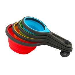 Wholesale Bowl Baking - Environmental Folding Silicone Bowl Pot Measuring Set Tools 8pcs Home Kitchen Measuring Cups Spoon For Baking