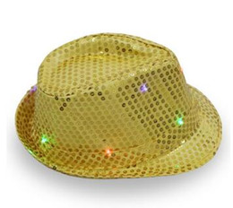 Wholesale blue light jazz - New 2017 Women Men Adult LED Lighting Flash Fedora Hat Cap Wedding Party Show Dance Bling Sequins Jazz Hats