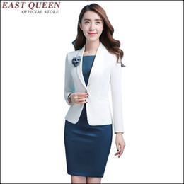 Conjunto de 2 piezas conjunto de traje de traje de mujer, traje, botón, dama de oficina, elefemale, bata blanca, vestido azul delgado sexy hasta la rodilla AA3500 a desde fabricantes