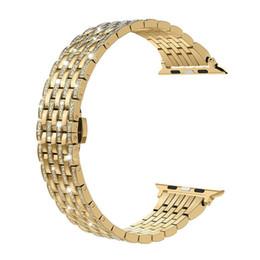 Rhinestone reloj bandas online-correas de diamante de estrás 38mm 42mm correa de acero inoxidable correas de reemplazo para Apple Watch serie 3 2 1