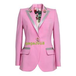 Argentina Mujeres de lujo, niñas, manga larga, mezcla de lana rosa, estampado rosa en el interior de la chaqueta de la chaqueta de las mujeres outwear top blusa con botón rosa cheap rose printing jacket Suministro