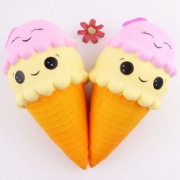 Wholesale face kid - 22cm Squishy Double Smiley Face Icecream Jumbo Smulation Dcompression Slow Rising Sweet Scented Charms Food Rebound Bread Kid Toys AAA169