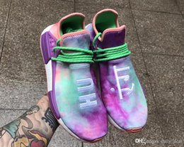 Wholesale Fabric Dye Shoes - 2018ADIDAS Pharrell Williams Originals HU HOLI NMD MC TIE-DYE Human Race Real Boost White Sanskrit Sneakers Men Running Shoes With box