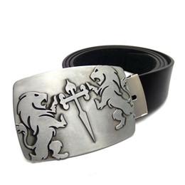 Wholesale knight belt buckle - vintage mens big buckle belts with Knights of Santiago lion cross metal belt buckle Black leather cowboy Belts for men