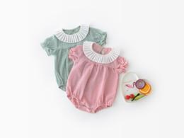 Wholesale Infant Ruffles - baby clothing summer baby kids cartoon ruffles collar short sleeve romper infant kids 100% cotton summer baby romper girl clothing