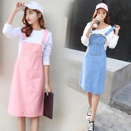 Wholesale women s denim overalls - Vetevidi Summer Skirt Women Denim Suspender Skirt Jeans Blue Jeans Casual shoulder-straps Front Pocket Overall