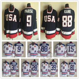 patrick kane usa olympic jersey Rebajas Equipo olímpico 2010 Camisetas de hockey de EE. UU. 88 Patrick Kane 9 Zach Parise Blanco Azul 81 Kessel 28 Rafalski 39 Miller 15 Camiseta de Langenbrunner