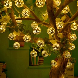 Wholesale lights for outdoor ornaments - TSLEEN 4pcs 20 LED 40mm Balls Metal Moroccan Ornament LED String Lights for Garden Garland Wedding Party Outdoor and Christmas